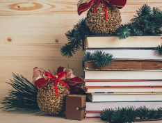 Books with festive holiday decorations