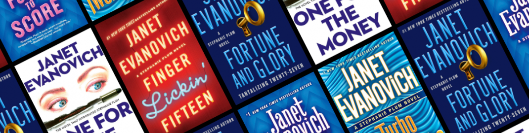Graphic featuring various Janet Evanovich covers