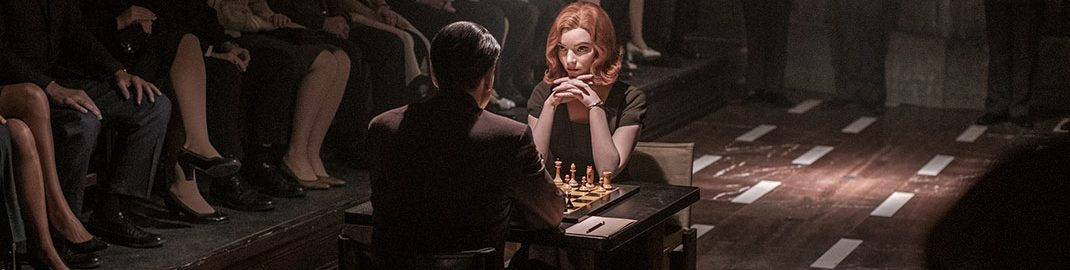 Beth Harmon playing chess in The Queen's Gambit