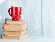 Book stack in the snow
