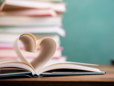 Book pages in the form of heart