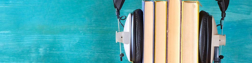Books wearing headphones