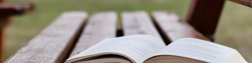 Open book on a rainy park bench
