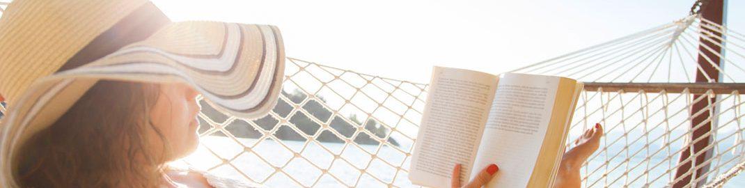 Woman reading on a hammock