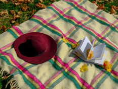 Book and hat on a fall picnic blanket